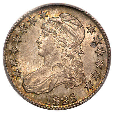 1828 50C Square 2, Small 8, Large Letters Overton 115 Capped Bust Half Dollar...