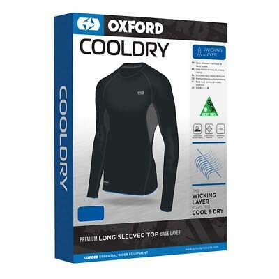 Oxford Cool Dry Black Motorbike Motorcycle Wicking Base Layer Top | All Sizes