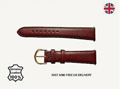 Genuine Leather  Watch Strap Bands with Buckle Men's Ladies in Black Or Brown