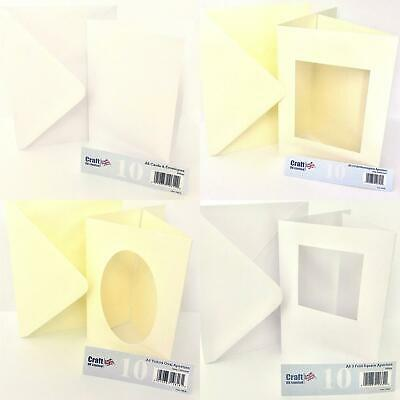 CraftUK 10 A6 TriFold Cards Oval Square Rectangle Apertures Ivory White Hammer