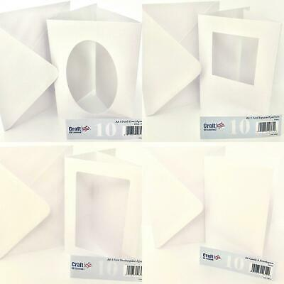 Craft UK 10 A5 A6 Aperture Cards Rectangle Oval Square White Hammer Trifold