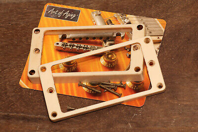 Aged Humbucker Vintage Bone curved Mounting Rings incl. Mounting Screws