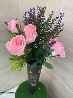 Black Memorial Graveside Grave Spiked Flower Vase Holder With Verse Butterfly