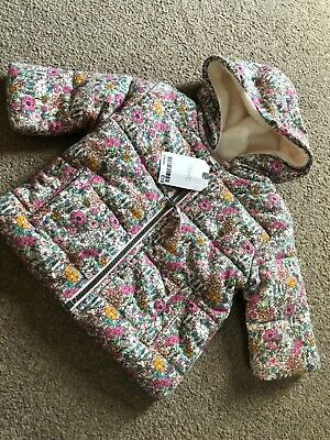 Next Floral Baby Girls Thick Padded Soft Coat Zip Up Jacket 3-6 Months