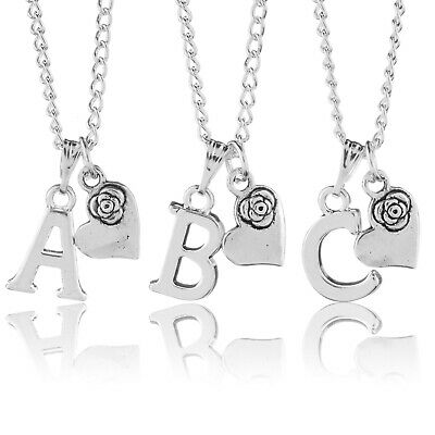 "Personalised Necklace Silver Plated Initial Letter Rose Heart 18"" A to Z"
