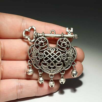 Collectable China Old Miao Silver Hand-Carved Bat & Bloomy Flower Decor Pendant