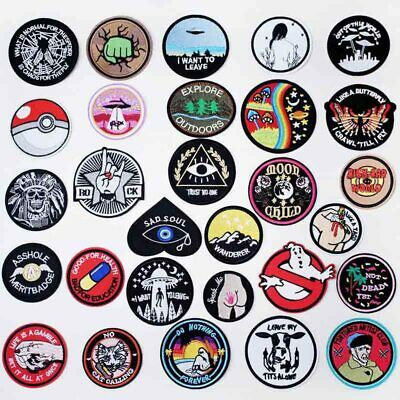 Round Black UFO Alien Eye Iron On Accessories Apparel DIY Badge Stickers Clothes
