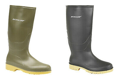 Dunlop Dull Ladies/Girls Wellingtons Wellies Black Or Green Size 11Jr -8 Adult