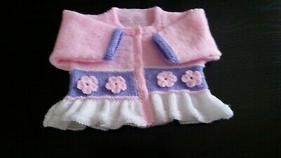 Baby girls hand knitted cardigan 3 - 6 months White  Pale Pink and lavender NEW