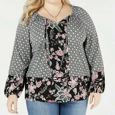 Style & Co Women's Plus Size 1X Blouse Floral Boho Pullover Top NEW NWT 56.50
