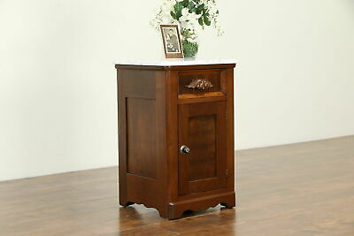 Victorian Antique Walnut Nightstand, End Table or Pedestal, Marble Top #32925