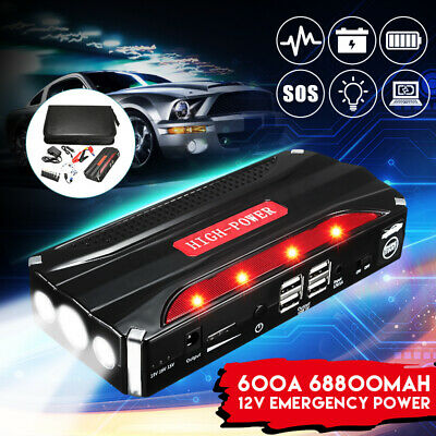 12V 68800mAh Car Jump Starter 4USB Emergency Auto Power Bank Rechargable