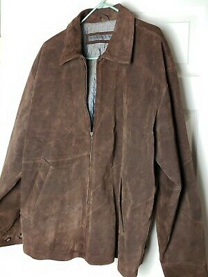 Mens Le Collezioni Structure Large Brown Genuine Suede Leather Jacket (HEAVY)
