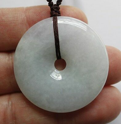 Certified Natural JADE Type A Untreated Light Green Jadeite Circle Donut Pendant