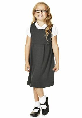 GIRLS SCHOOL PINAFORE DRESS EX UK STORE JERSEY WITH STRETCH 3-11Y NEW