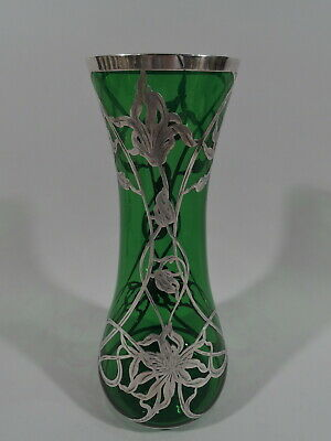 Antique Vase - Art Nouveau Flowers - American Green Glass & Silver Overlay