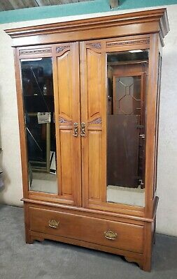 Edwardian Walnut Mirror Door Wardrobe