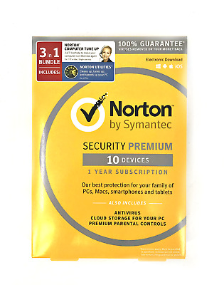 Norton Security Premium 10 Devices W/ Tune Up 1 Year 3 in 1 w/ Utilities  #3043