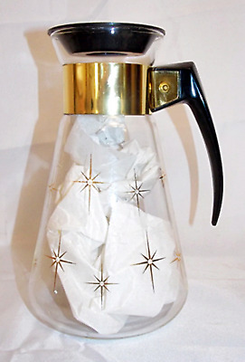 Corning Atomic Vintage Mid Century MCM Carafe Coffee Tea Pot Heat Proof Glass