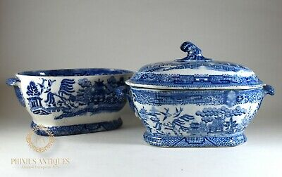 Two Antique 19Th Century Blue & White Willow Pattern Tureens