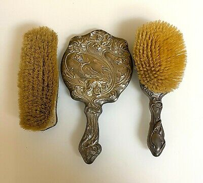 Antique Sterling Silver Hair Brush and Mirror Set-- Pat. 1901
