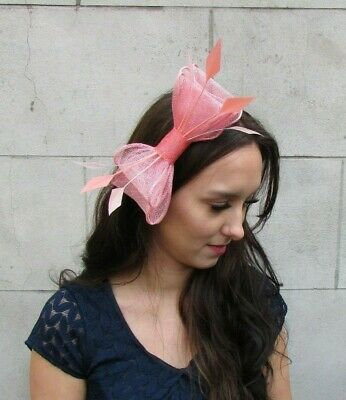 Peach Coral Pink Sinamay Bow Feather Hair Clip Fascinator Races Wedding 9049
