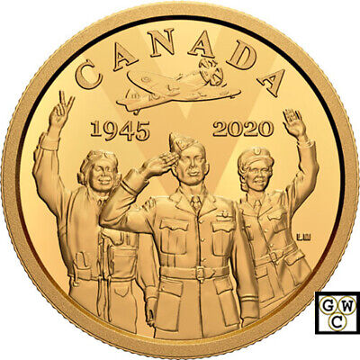 2020 Proof $100 Gold Coin 14K '75th Anniversary of VE-Day' (RCM 176230) (18889)
