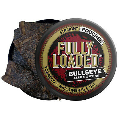 Fully Loaded Chew Tobacco and Nicotine Free Straight Bullseye Pouches Authent...