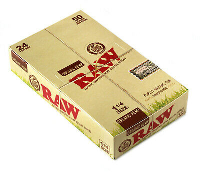 1 box x  RAW ORGANIC Natural Unrefined rolling paper size 1 1/4 - 24 packs
