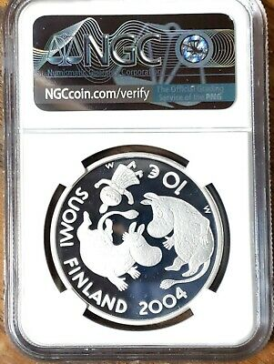 2004 Finland Silver 10 Euro TOVE JANSSON in NGC PF70 UCAM