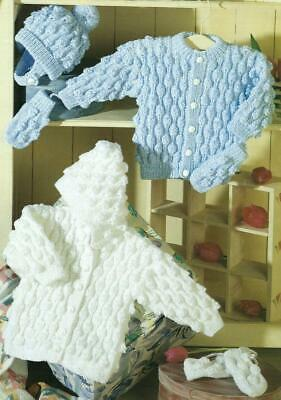 Baby Toddler Knitting Pattern Hooded Jacket Cardigan Hat 8 ply Birth - 6 Years