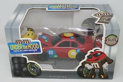 M&M's Under The Hood Race Car Candy Dispenser Yellow Limited Edition Collectable