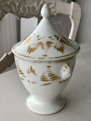 Antique White French Ironstone Porcelain Sugar Bowl with Lid and Faces