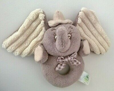 Dumbo Elephant Ring Rattle Disney Baby Playgro Taupe Beige 0+ Hat Checked Bow