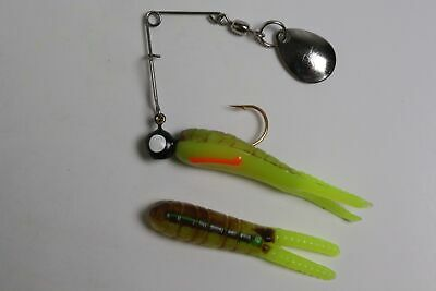 """Betts 023ST-35N 1//8 Oz Beetle Spin 2/"""" Split Tail White//Red Dot Card of 12 12575"""