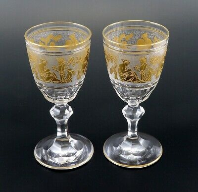 Pair Val St Lambert Danse de Flore Crystal Glass Gold Small Wine Goblets 5 1/4""