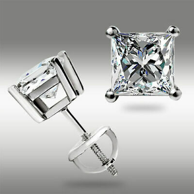 1Ct Princess Cut Solitaire Stud Earrings 14K White Gold OVER Screw back Pierced