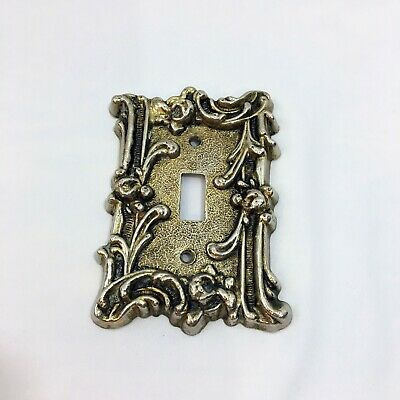 Vintage Fance Edgar Victorian Brass Single Light Switch Cover Heavy