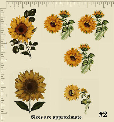 CERAMIC DECALS. Waterslide YELLOW SUNFLOWERS. Floral. 4 Options Decoupage PD728a