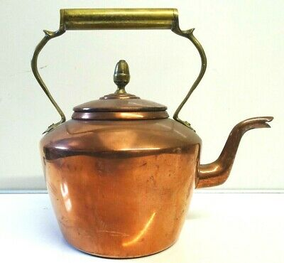 Large Antique Copper & Brass Fireside Kettle  Acorn Top Swan Neck