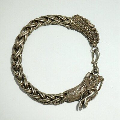 Collecte China Old Miao Silver Hand-Carvd Myth Dragon Auspicious Decor Bracelet