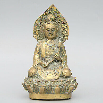 Collectable China Old Bronze Hand-Carved Lotus Kwan-Yin Buddhism Delicate Statue