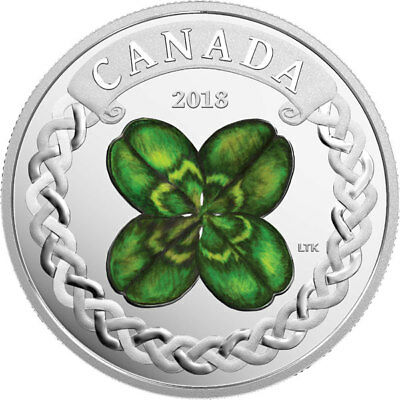 2018 'Lucky Clover' Colorized Proof $20 Silver Coin 1oz .9999 Fine (18383) (NT)