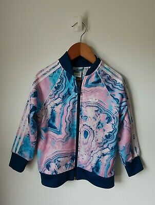 Girls Adidas Blue And Pink Tracksuit Top Jacket 3 - 4 Years