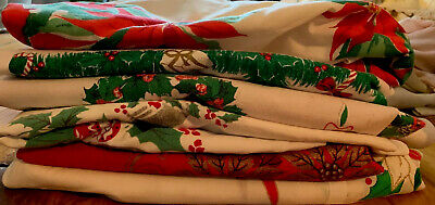 Lot 6 Vintage Printed Tablecloths Christmas Craft Cutters