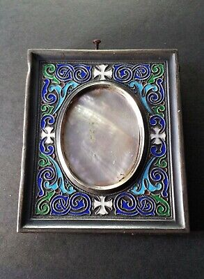 Antique Russian Kokoshnik Early Marked Cloisonne Enamel 84 SILVER Picture Frame