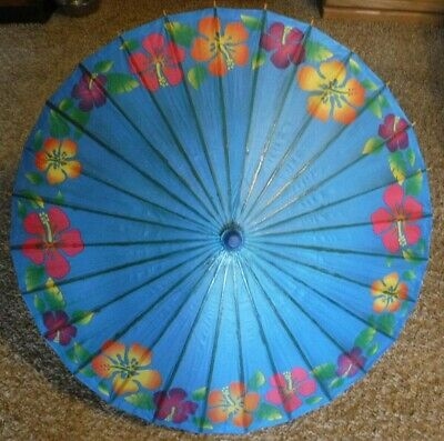 Umbrella Chinese Oriental Trading Wooden Old Bamboo Parasol Handmade Paper