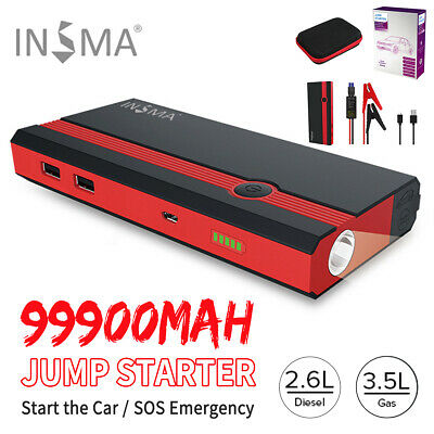 99900mAh Vehicle Car Jump Starter Booster USB Battery Power Bank Charger 12V LED