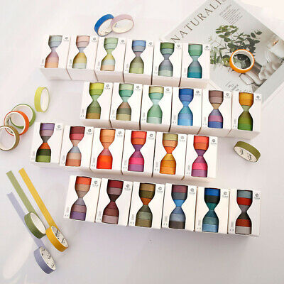 6 Pcs/Set Cute Solid Color Washi Tape Japanese Scrapbooking Stickers