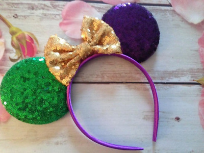 Mardi Gras Minnie Mouse ears headband- Disneyland- Disney World-New
